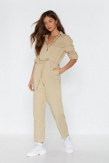 Womens Beige Come to a Boil Utility Boilersuit