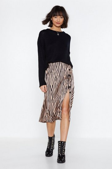 Womens Nude It's Not All Black and White Zebra Skirt