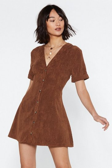 Womens Tan Button Cloud Nine Corduroy Dress