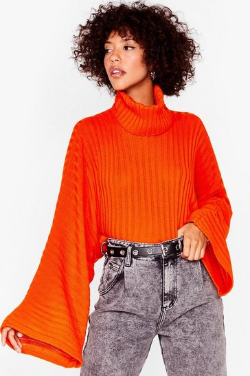 Orange Call Knit a Day Oversized Sweater