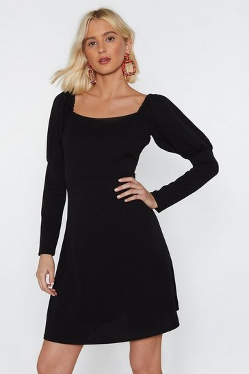 Womens Black Sleeve 'Em Alone Mini Dress