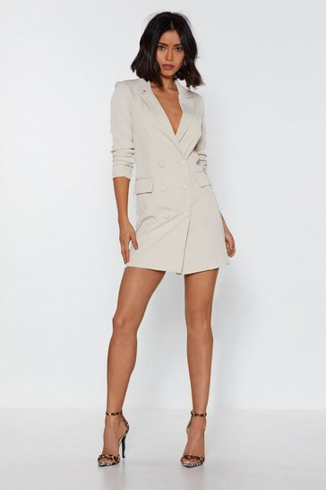 Womens Stone I'm Busy Mini Blazer Dress