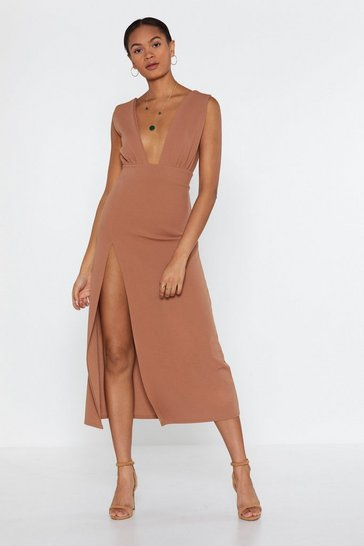 Womens Camel Deep On Dancing Midi Dress