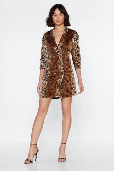 Womens Brown Take a Wild Guess Animal Blazer Dress