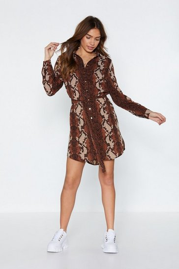 Womens Dark red Just a Little Slither Snake Dress