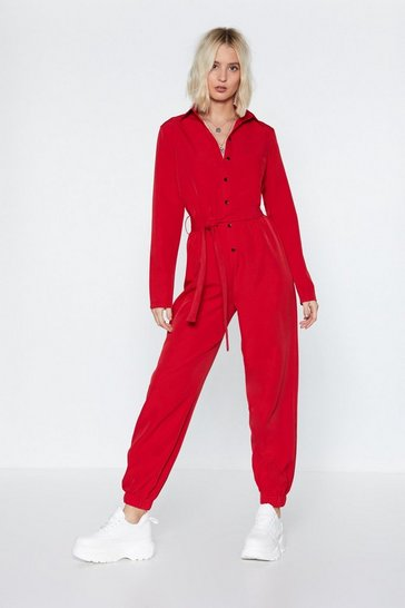 Womens Red It All Boils Down to This Button-Down Boilersuit