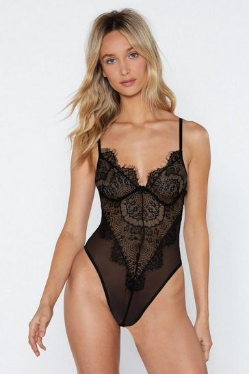 Womens Black Eyelash You Nicely Lace Bodysuit