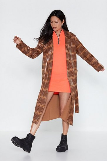 Womens Tan Plaid You Could Drop By Patent Trench Coat