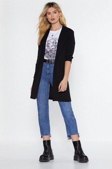 Womens Black It's a Long Story Longline Blazer