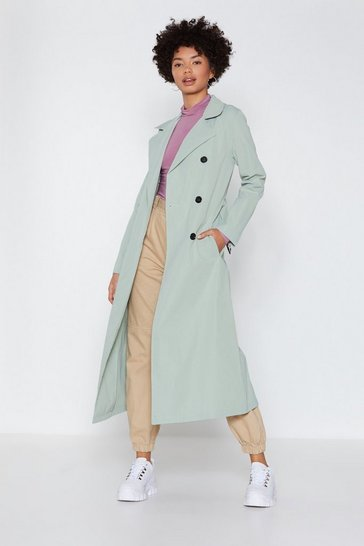 Womens Sage Go a Long Way Trench Coat