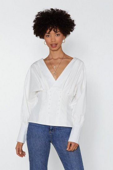 Womens White Keep It Button-Down Shirt