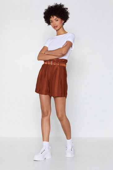 Womens Rust Bag of Tricks Paperbag Shorts