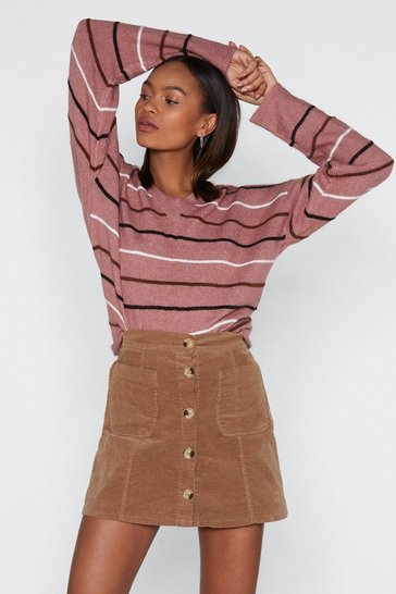 Womens Rose Straight Up Striped Jumper