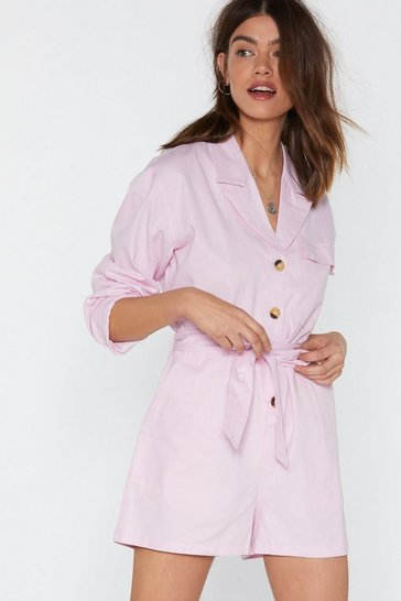 Womens Pink Don't Tie So Hard Belted Utility Romper