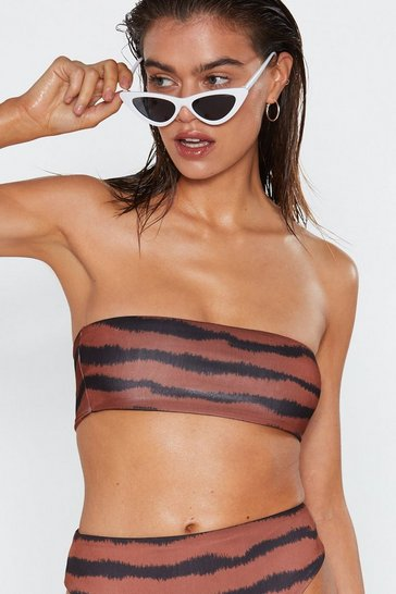 Womens Rust Like a Tiger to Water Bandeau Bikini Top