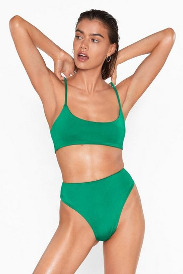 Womens Green Resting Beach Face Scoop Bikni Top