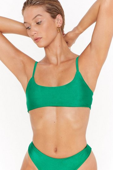 Green High-Leg Bikini Bottoms with Medium Coverage