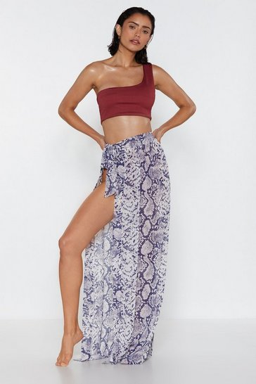 Womens Pink Snake a Vacation Sarong Skirt