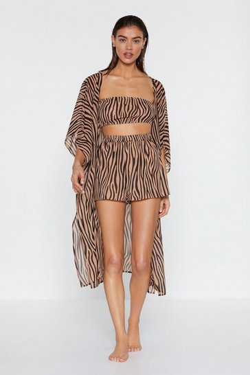 Tan It's Not All Black and White Zebra Kimono Top and Shorts