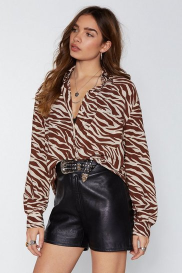Womens Tan West End Girl Zebra Shirt