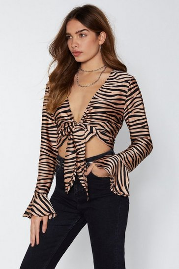 Womens Nude It's Not All Black and White Zebra Top