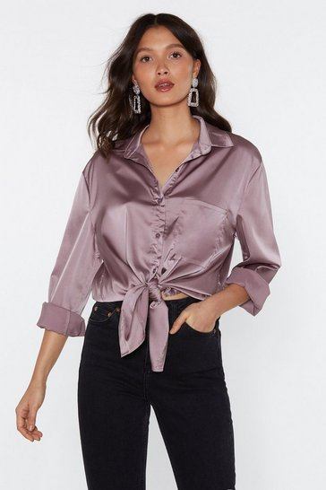 Womens Mauve Smooth Operator Satin Shirt