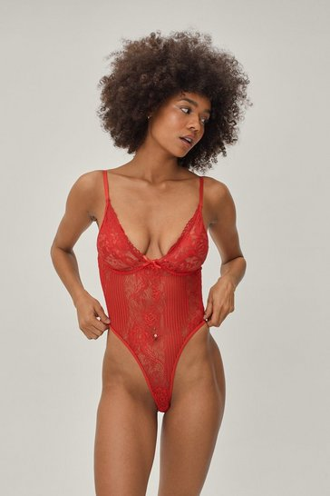 Womens Red Lace Orders Cupped Bodysuit