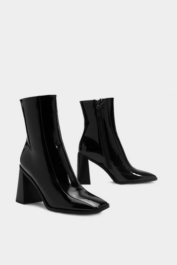 Black Patent Square Toe Heeled Ankle Boots