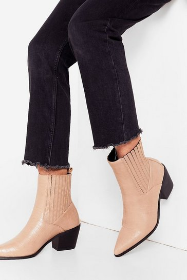 Run Off Your Feet Croc Faux Leather Boots, Nude, FEMMES