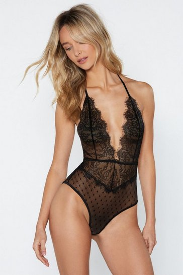 Womens Black Lace of Spades Halter Bodysuit