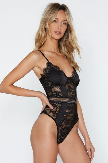 Black You Haven't Seen the Lace of Me Bodysuit
