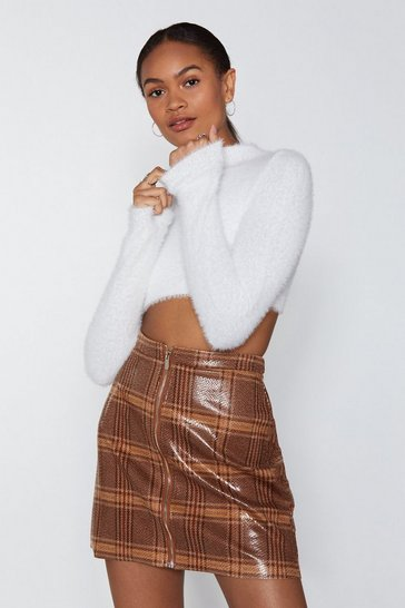 Womens Cream From the Top Cropped Sweater