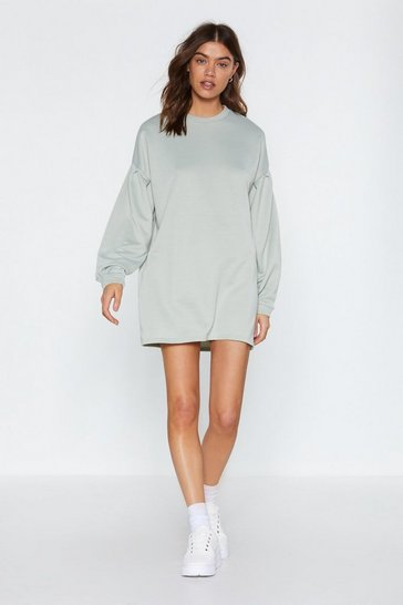 Womens Mint Don't Sweat It Sweatshirt Dress