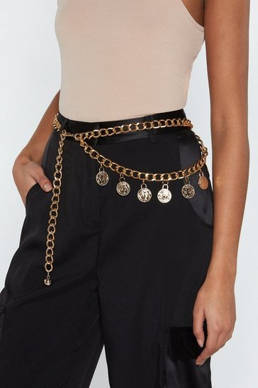 Womens Gold That Makes Cent Coin Chain Belt