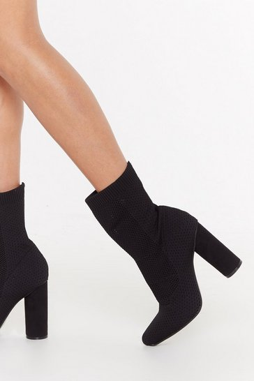 Womens Black Out of Touch Sock Boot