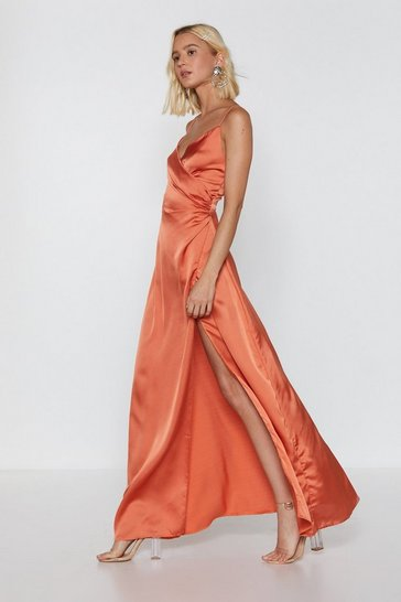 Womens Burnt orange When the Moon's Out Satin Maxi Dress