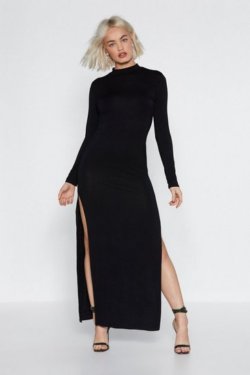 Womens Black Get My Good Side Maxi Dress