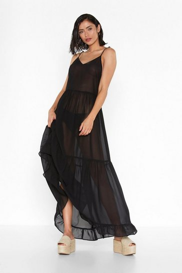 Womens Black Tier's the Deal Chiffon Maxi Dress