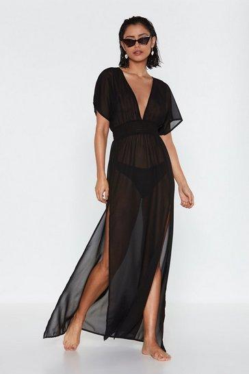 Black Tough Slit Cover-Up Maxi Dress
