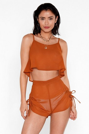 Womens Turmeric Beachy Keen Cami Top and Shorts Cover-Up Set