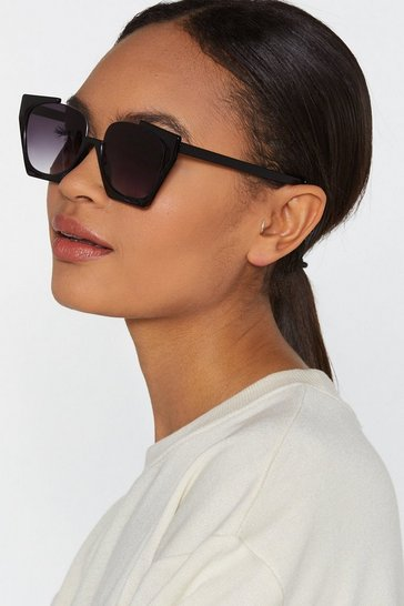 Womens Black Without a Shadow of a Cut-Out Oversized Sunglasses
