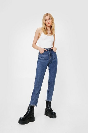 Womens Blue On the Move High-Waisted Mom Jeans