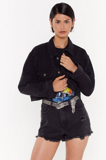 Womens Black Denim in My Lane Cropped Jacket