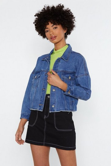 Womens Blue Easy For You to Fray Cropped Denim Jacket