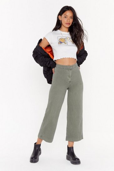 Khaki Travel Far and Wide Culotte Jeans