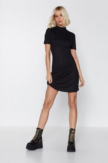 Womens Black High Neck Era Mini Dress