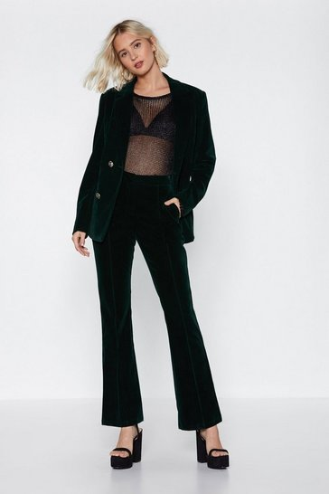 Womens Green Touch Too Much Velvet Pants