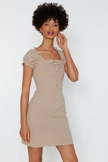 Womens Sand Strings Attached Lace-Up Dress