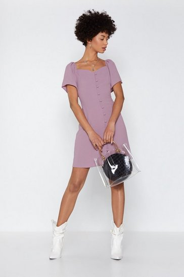 Womens Lavender I Was Lost Button-Down Dress