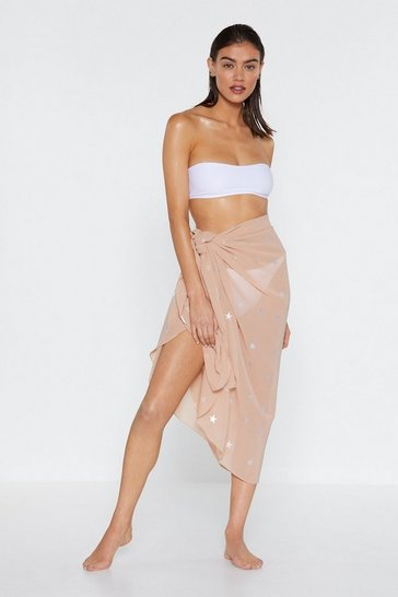 Womens Nude Drops of Jupiter Star Tie Sarong